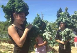 Kids get creative with kale in an urban garden in Tacoma, Washington.